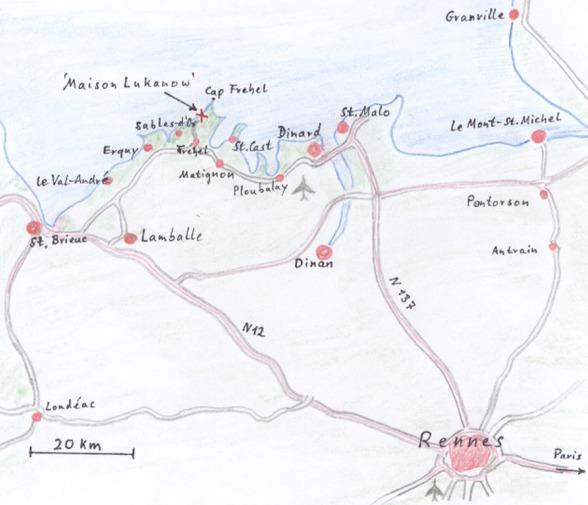 Das Ferienhaus Maison Lukanow mit den wichtigsten Orten: Fréhel, Erquy, Matignon, Lamballe, St. Malo, St. Brieuc und Rennes.