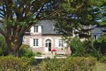Äste der Zypresse bilden einen Rahmen beim Blick auf's Ferienhaus