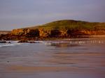 In der Abendsonne leutet die Küste rötlich.